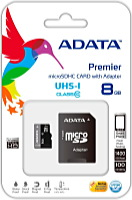 A-DATA 8GB Class10 UHS- I MicroSD + adapter -