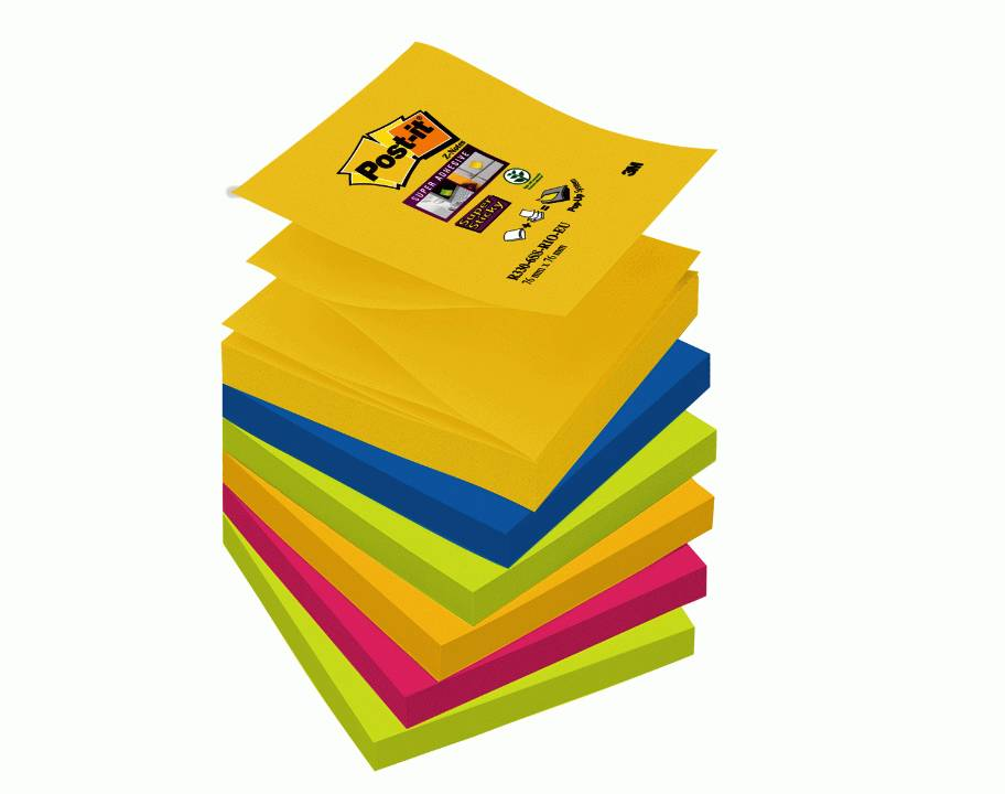 Öntapadós j.tömb R330-6SS-RIO 76x76 Super Sticky Z szivárvány Post-it -